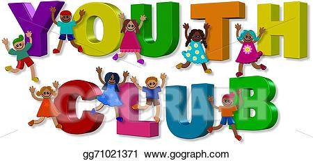 Words clipart youth. Stock illustration club kids
