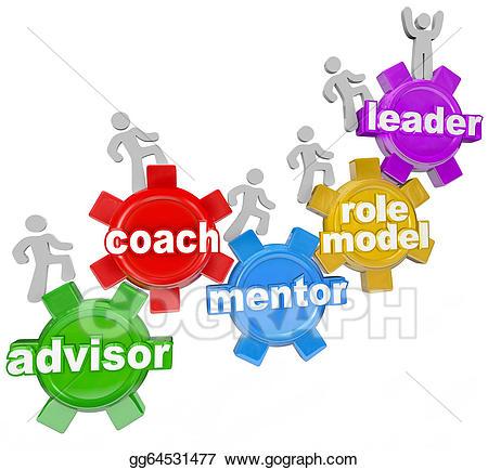 Stock illustration coach advisor. Leader clipart goal