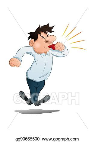 Coach clipart whistle blowing. Stock illustrations businessman blow
