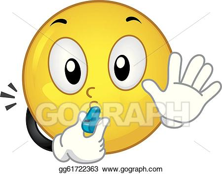 Vector smiley illustration . Coach clipart whistle blowing
