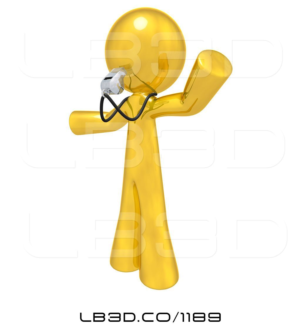 Illustration of d gold. Coach clipart whistle blowing
