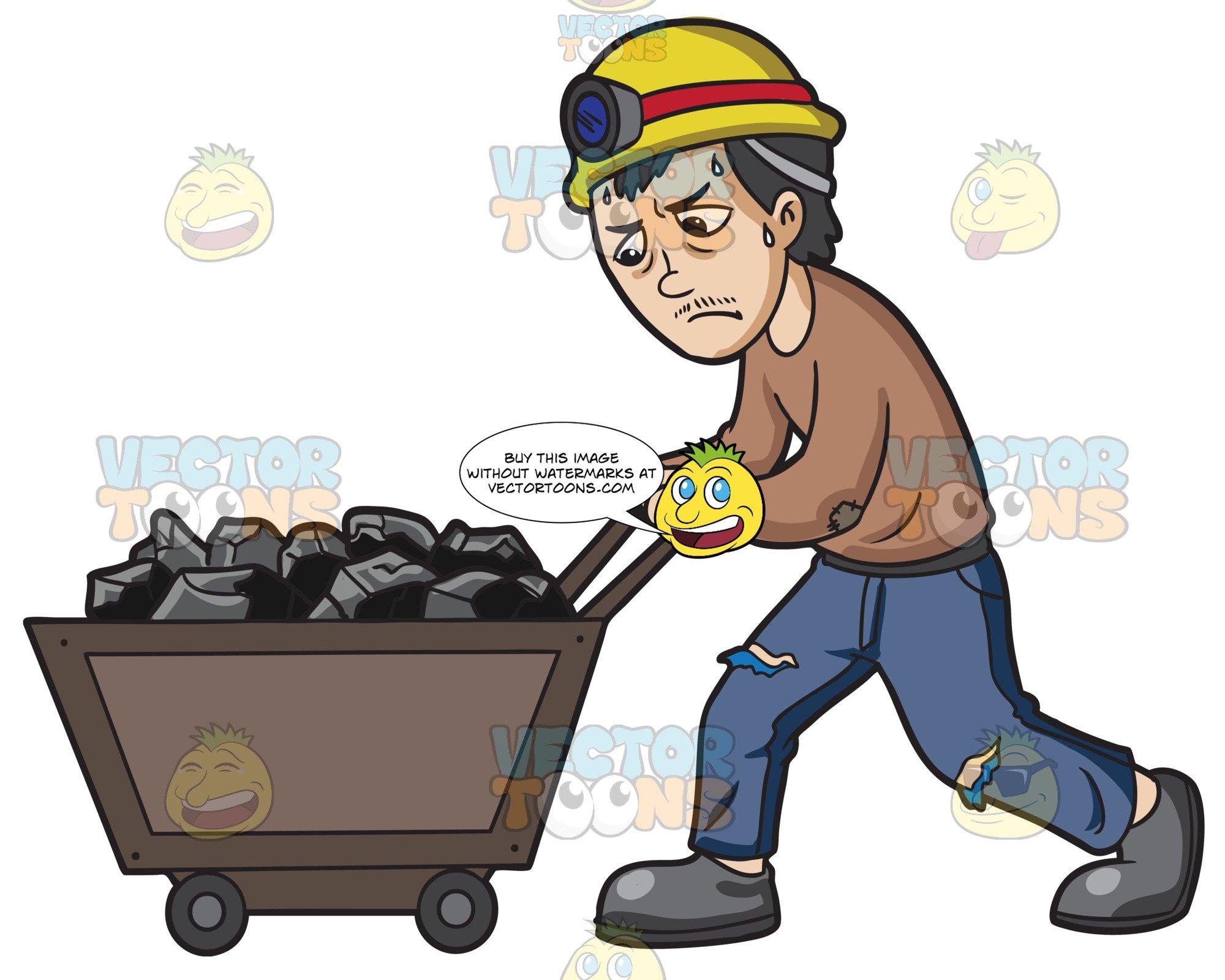 A mineworker pushing of. Coal clipart coal cart