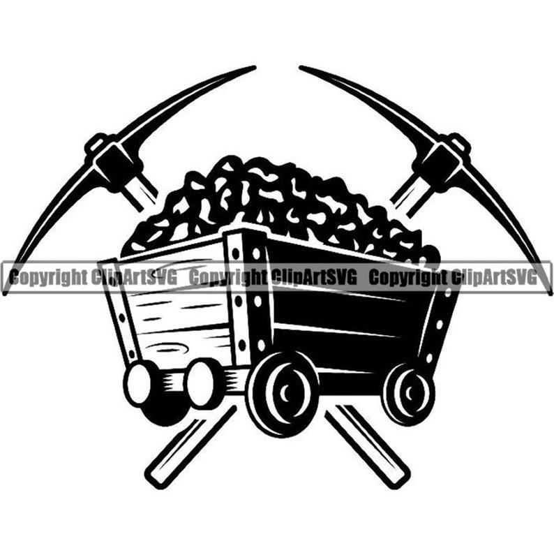 Coal clipart coal cart. Mining logo pick axes