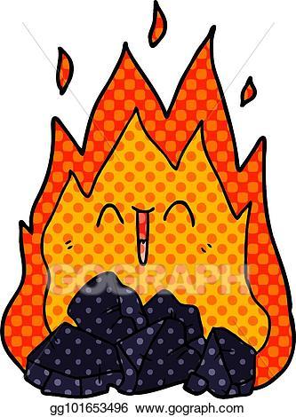 Vector illustration cartoon blazing. Coal clipart coal fire