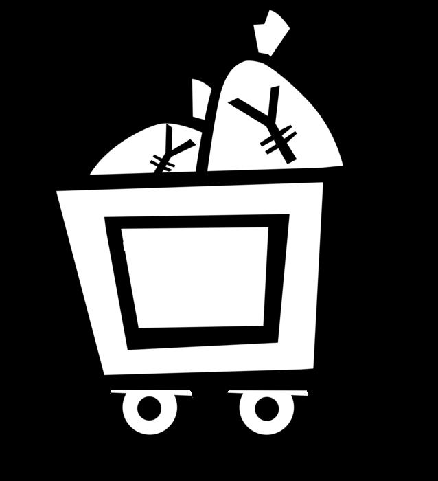 Mining cart with dollar. Coal clipart coal truck