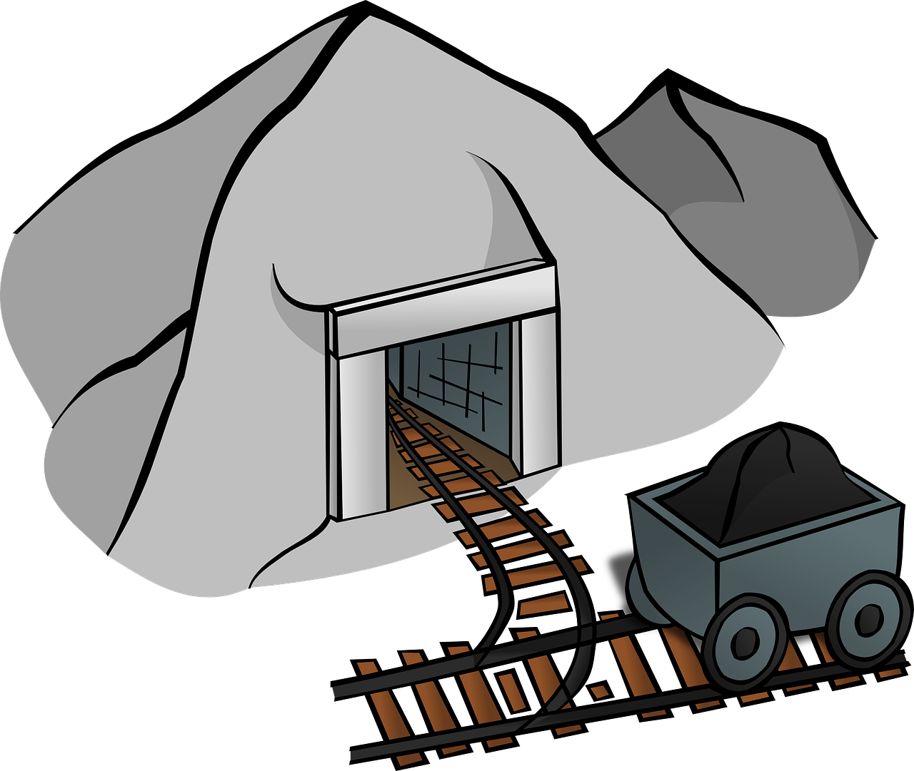 Coal clipart mine entrance. Cave lorry png image
