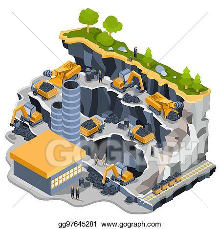 Excavator clipart rock quarry. Stock illustration isometric coal