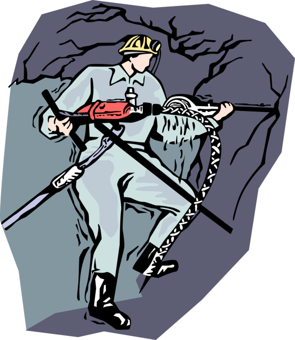 Coal clipart mining industry. Miner drilling for vector