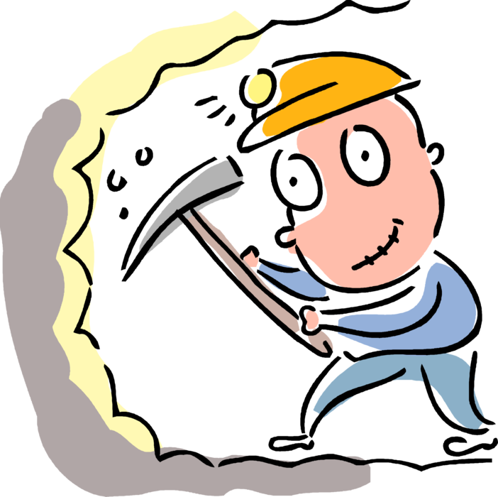 Coal clipart vector. Miner with pickaxe image