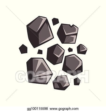 Coal clipart vector. Flat cartoon lumps of