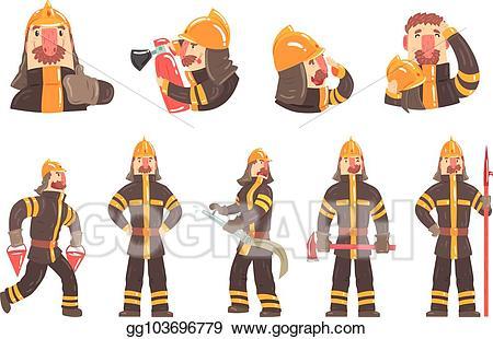 Fireman clipart coat. Vector art funny at