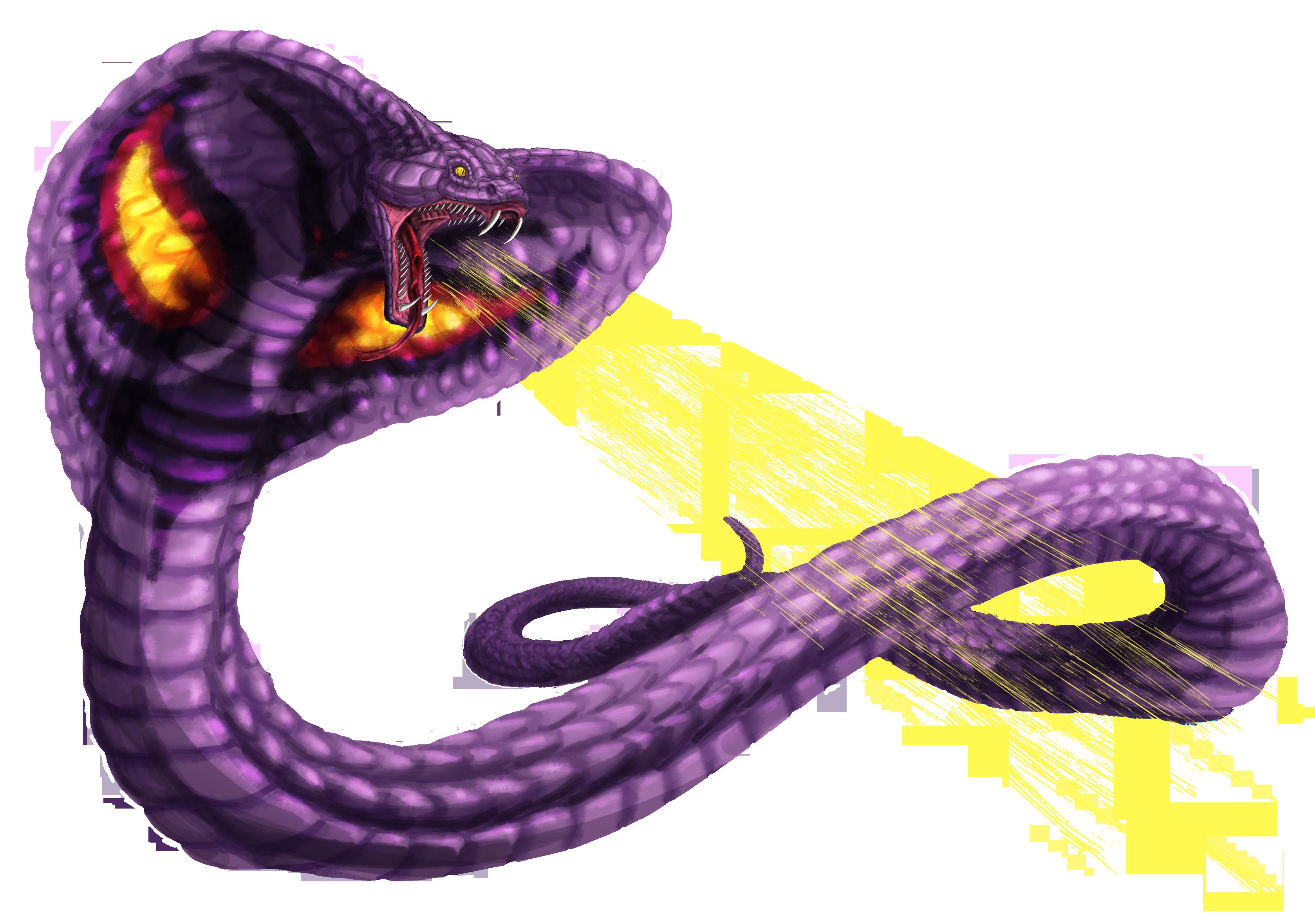 arbok used thunder. Cobra clipart fang