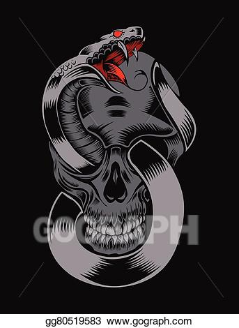 Cobra clipart skull. Vector illustration of with
