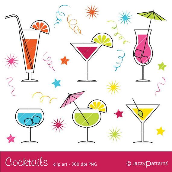 Cocktails clipart. Cocktail ca instant download
