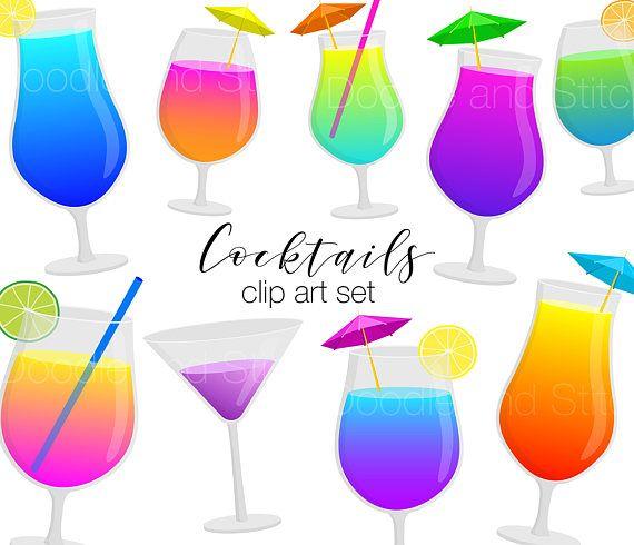 Clip art drink pictures. Cocktails clipart colorful