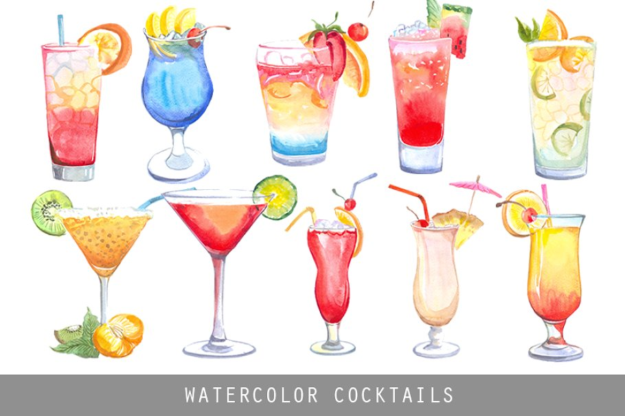 Cocktail clipart beverage. Watercolor cocktails