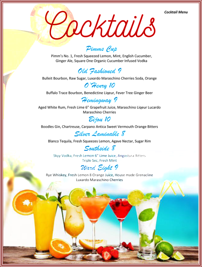 Cocktail clipart chalkboard. Free menu template download