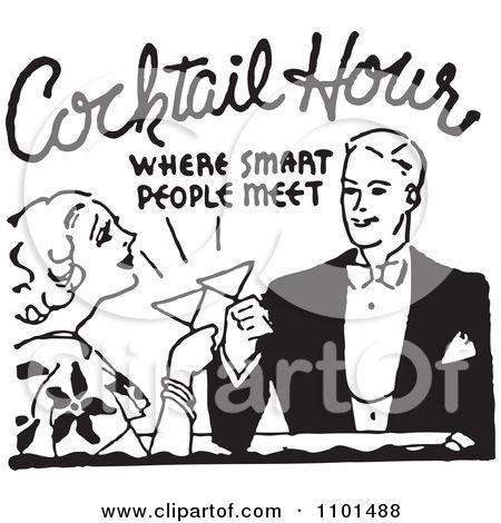 Cocktail party people vintage. Cocktails clipart classic