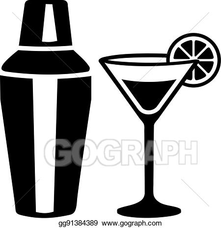 Vector illustration martini glass. Cocktail clipart cocktail shaker