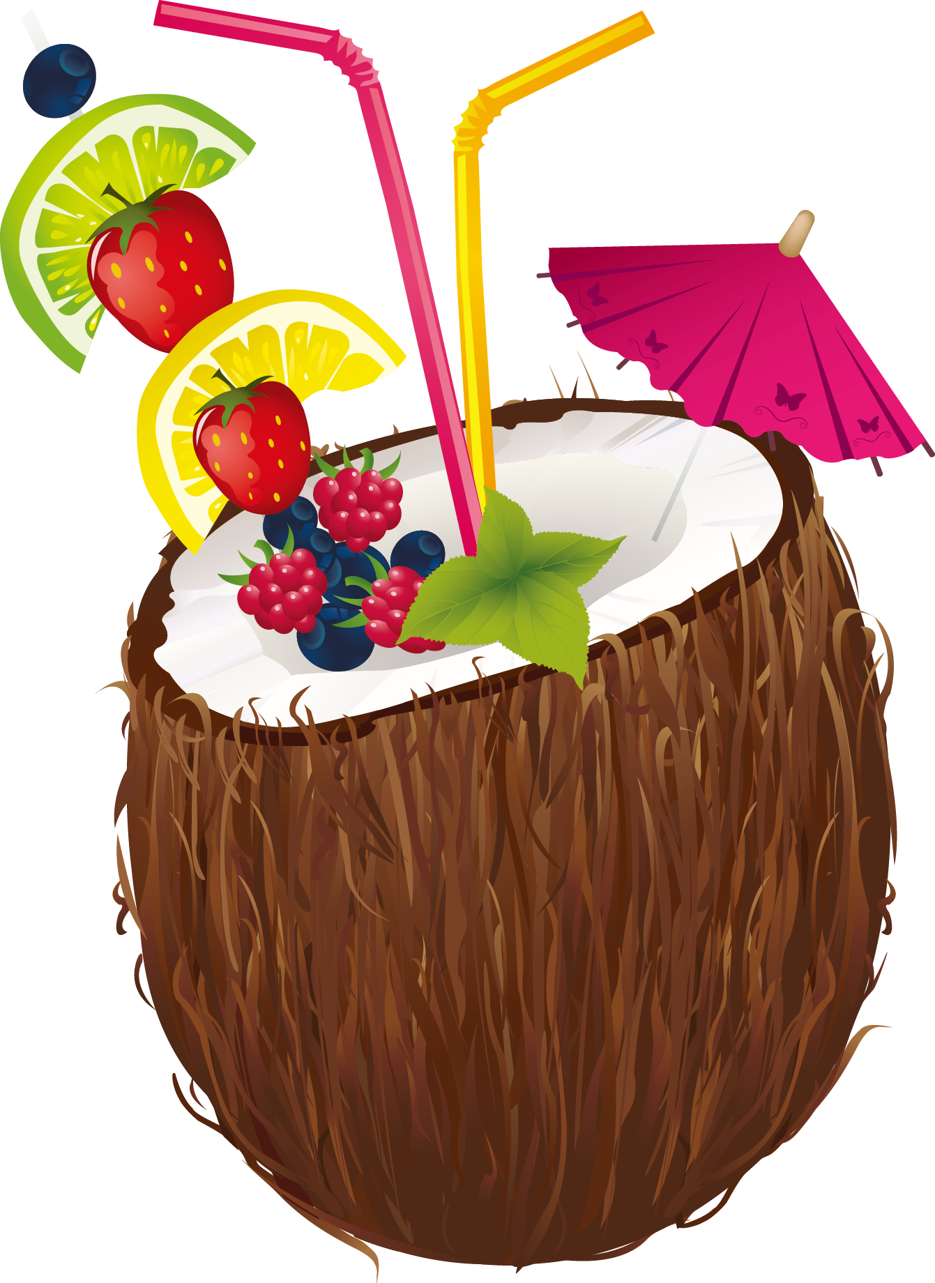 Milk clipart fruit. Cocktail coconut water clip