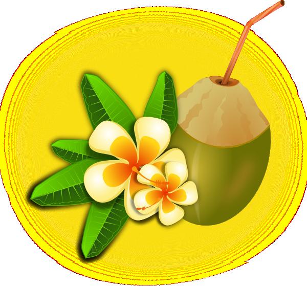 Tropical flower with coconut. Hawaiian clipart cocktail hawaiian