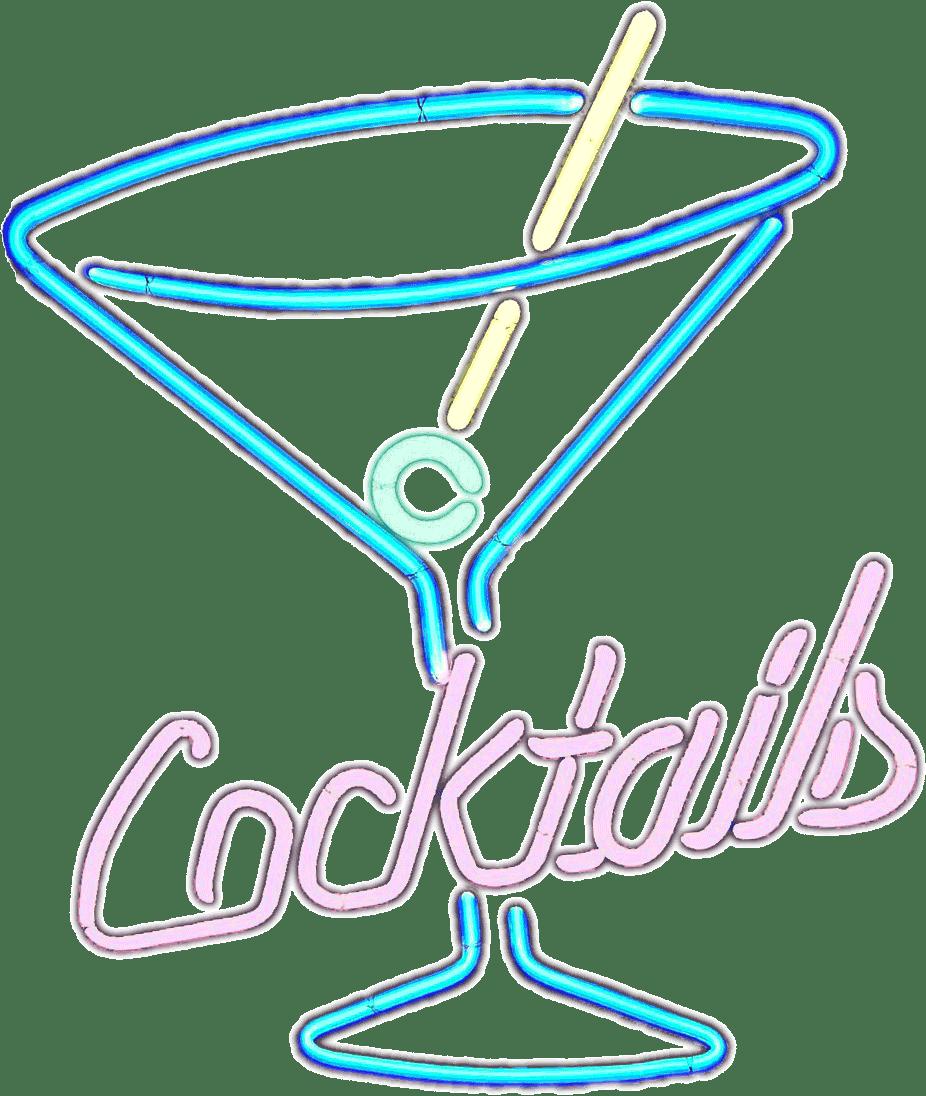 Cocktail clipart colorful. Neon cocktails sign transparent