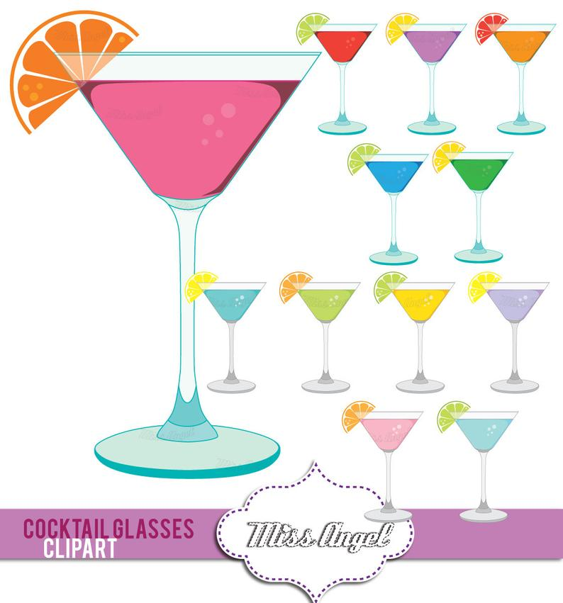 Cocktail clipart colorful. Martini glasses digital drinks