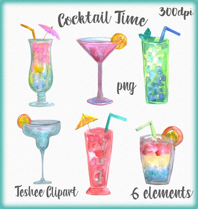 Watercolor clip art hand. Cocktail clipart colorful