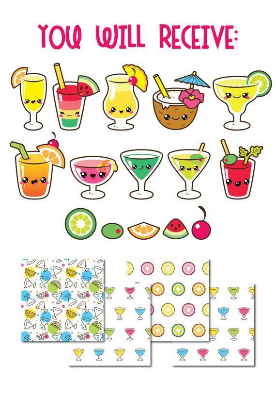 Cocktail clipart cute. Clip art kawaii