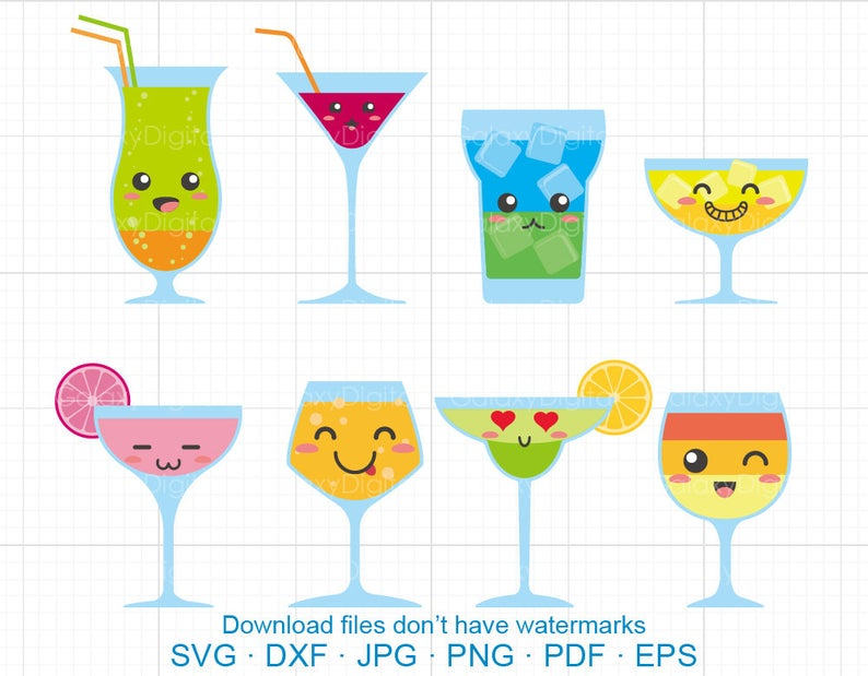 Cocktail clipart cute. Svg summer drinks dxf