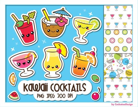 Clip art kawaii . Cocktail clipart cute