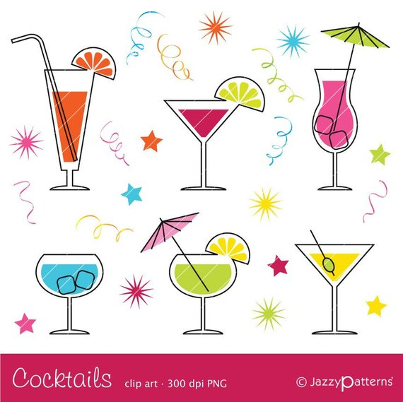 Cocktail clipart file. Ca instant download products