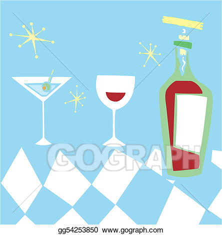 Vector illustration retro styled. Cocktail clipart group