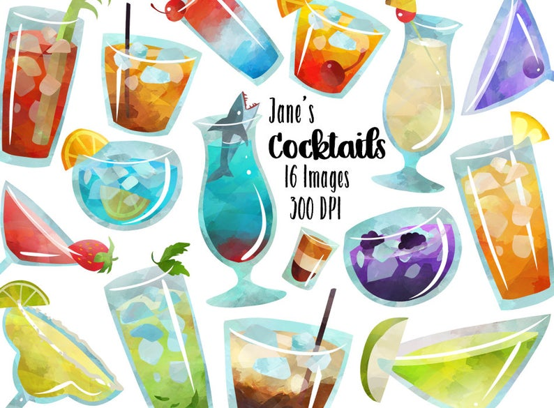 Cocktail clipart mixed drink. Watercolor cocktails download instant