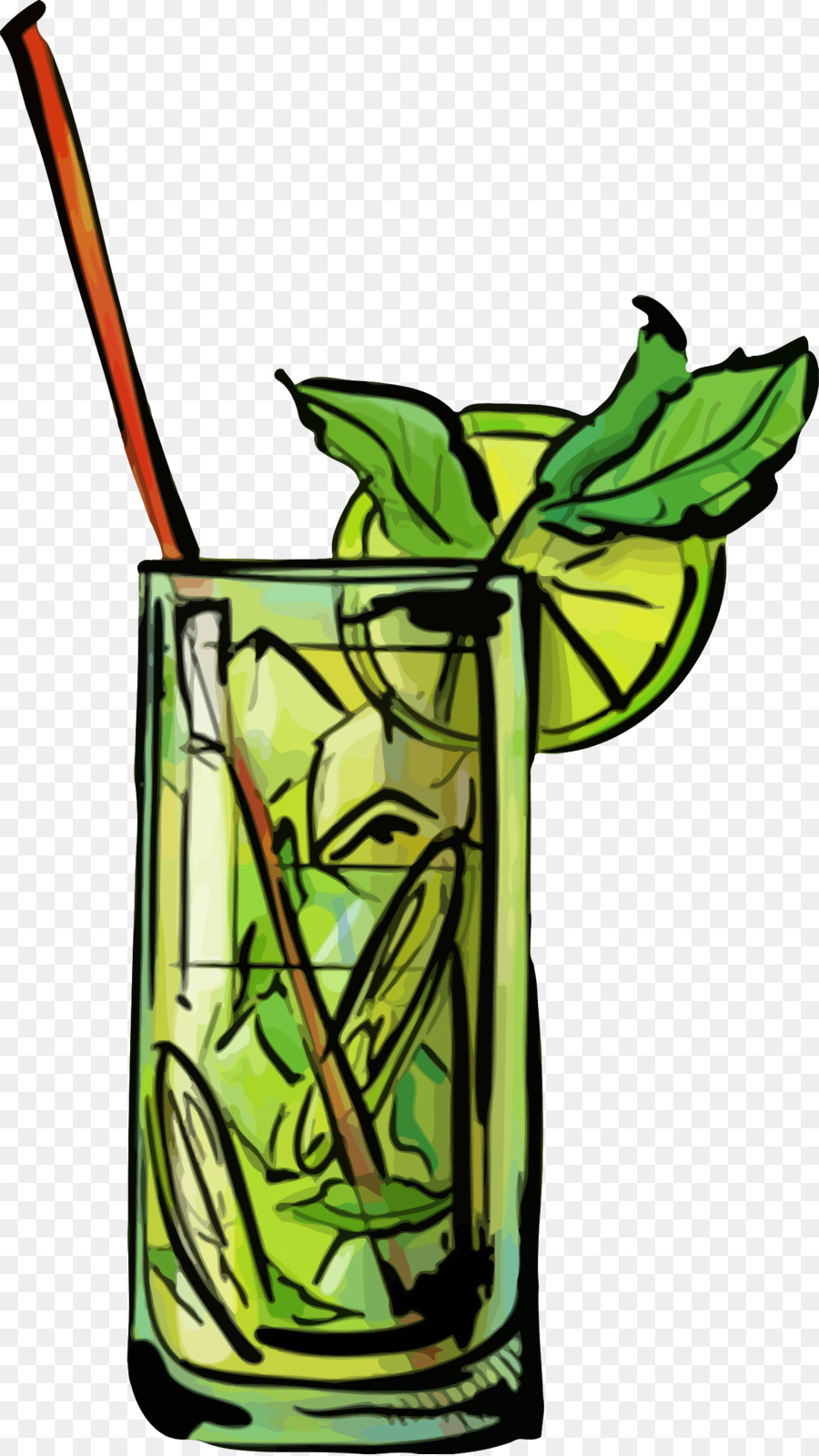 Flower stem drink plant. Cocktail clipart mojito