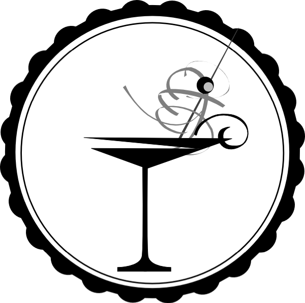 Black and white martini. Cocktail clipart outline