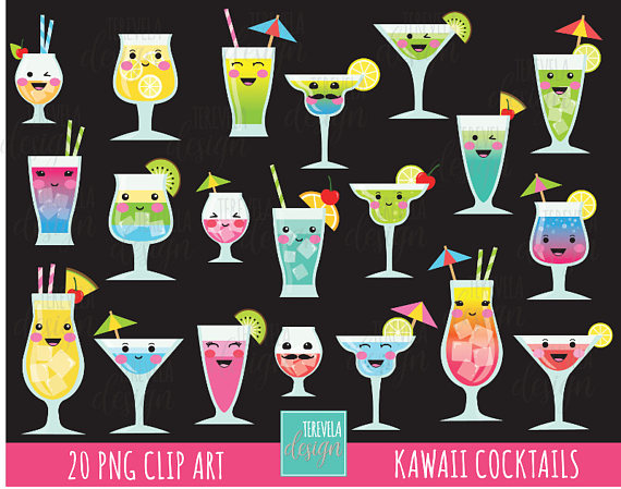 Cocktail clipart party drink.  sale cocktails kawaii