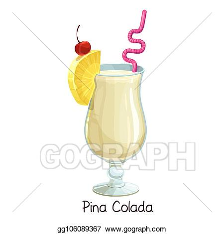Cocktails clipart pina colada glass. Vector illustration cocktail stock