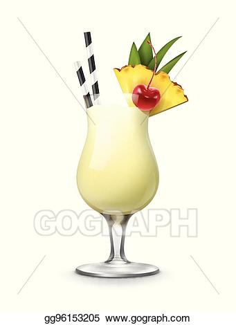 Vector cocktail illustration . Cocktails clipart pina colada glass
