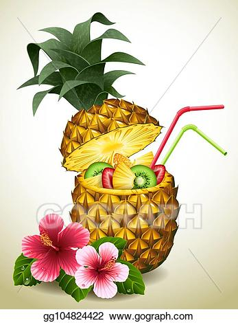 Vector stock cocktail illustration. Cocktails clipart pineapple drink