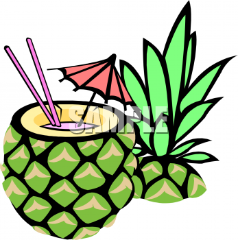 Tropical cocktail in a. Cocktails clipart pineapple drink