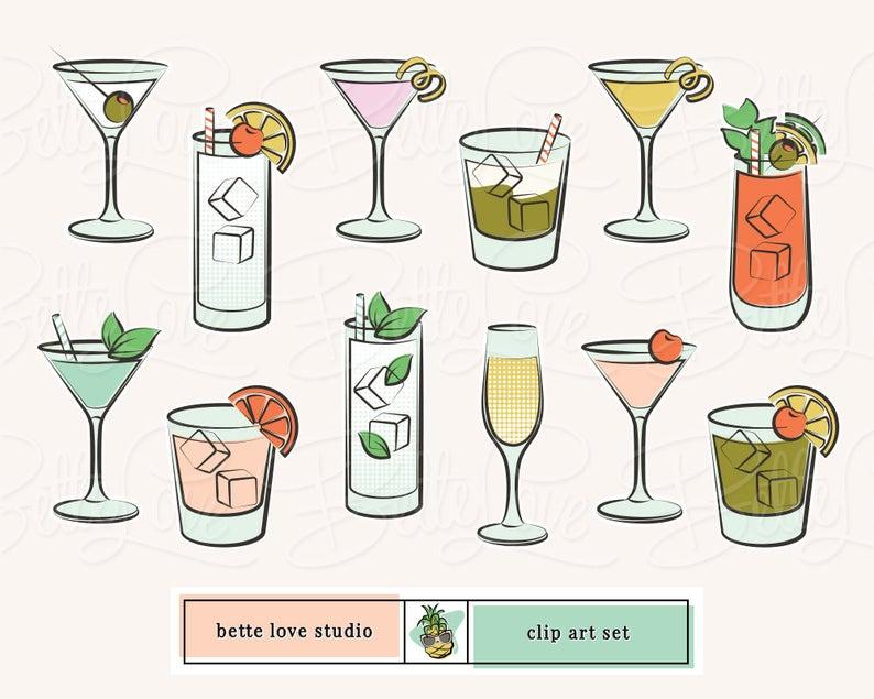 Cocktail clipart retro cocktail. Clip art mojito martini
