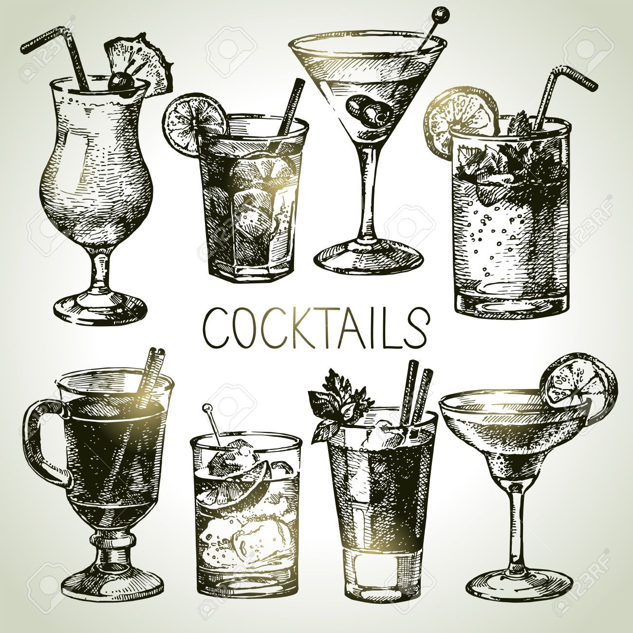 Cocktail clipart royalty free. Drawing cliparts stock vector