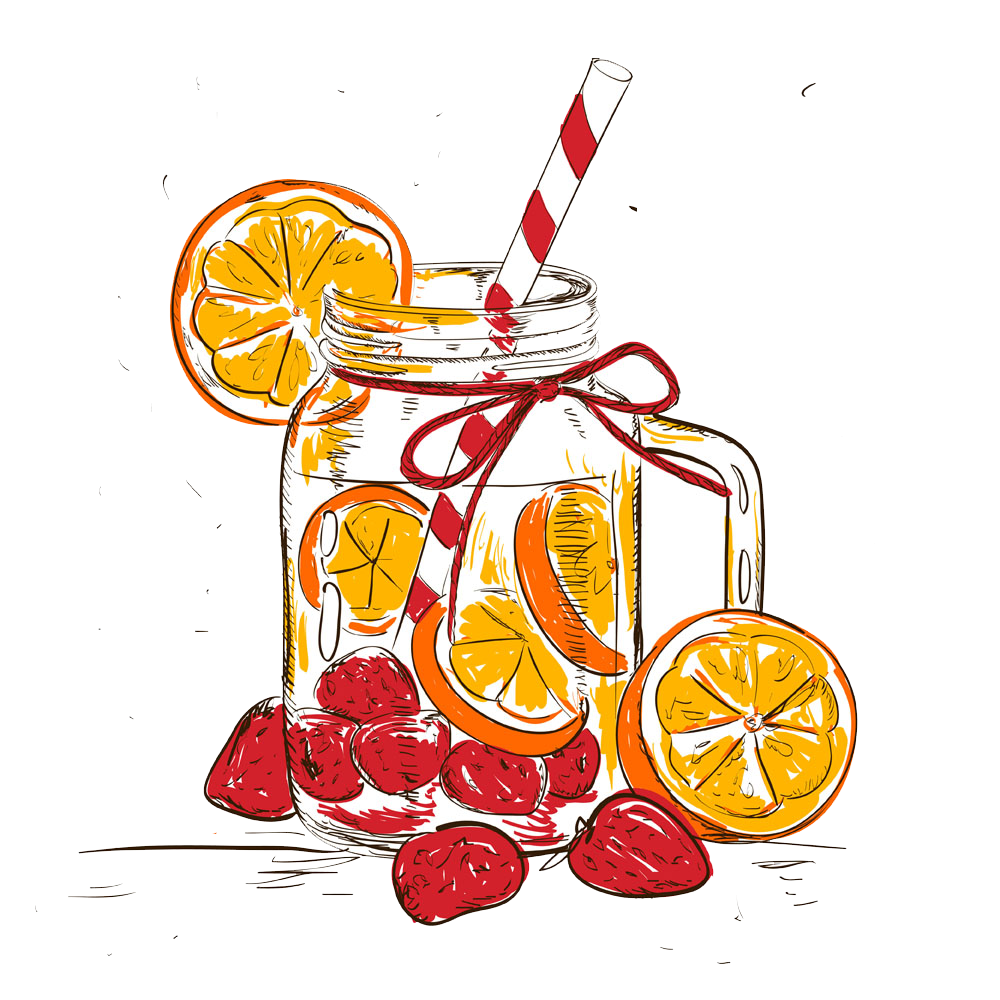 Smoothie detoxification illustration hand. Cocktails clipart sangria glass