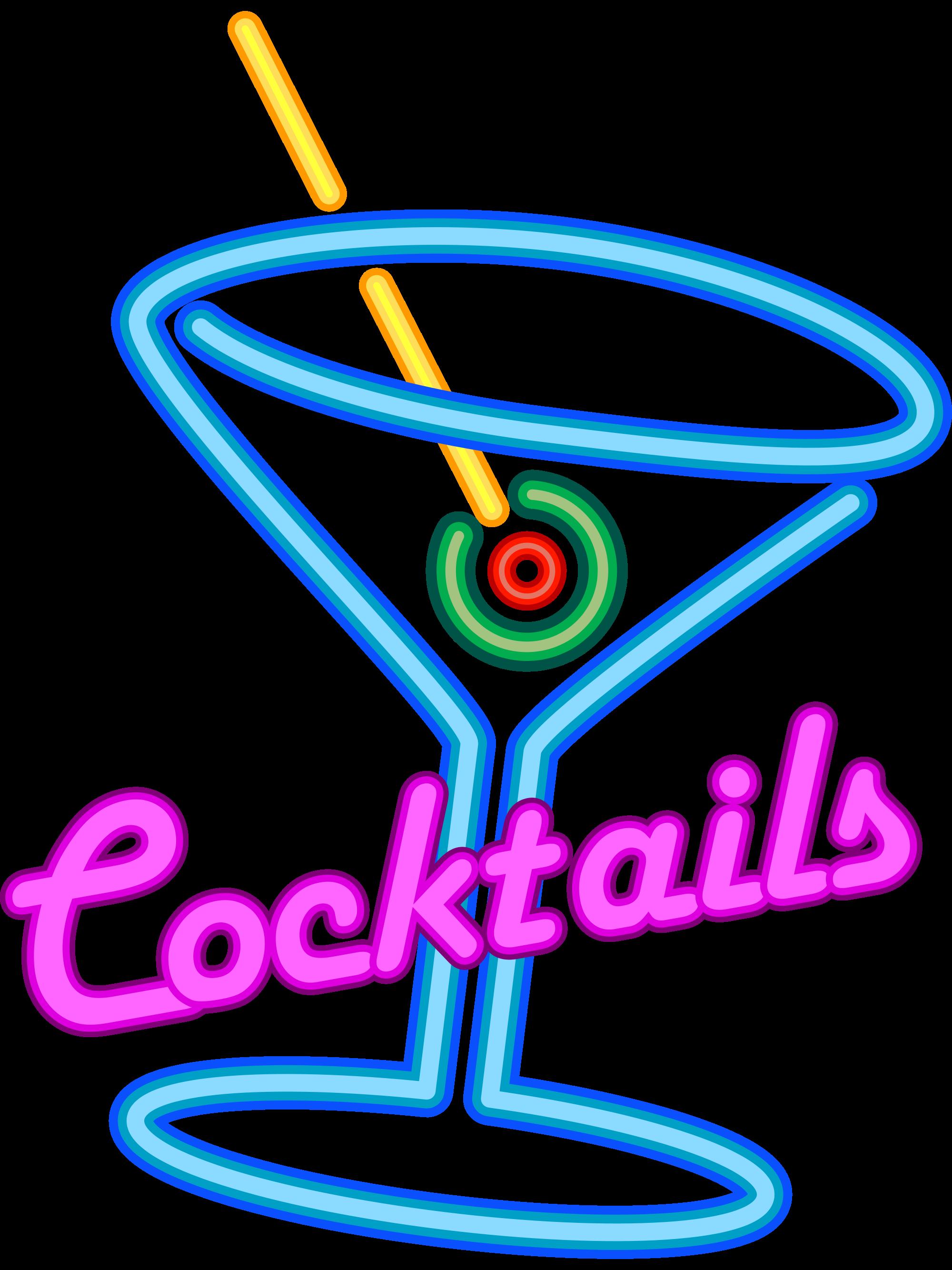 File faux neon sign. Cocktails clipart cocktail menu