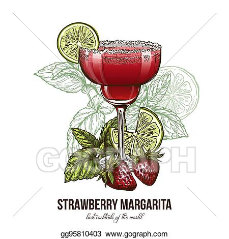 Cocktails clipart strawberry margarita. Vector art cocktail with