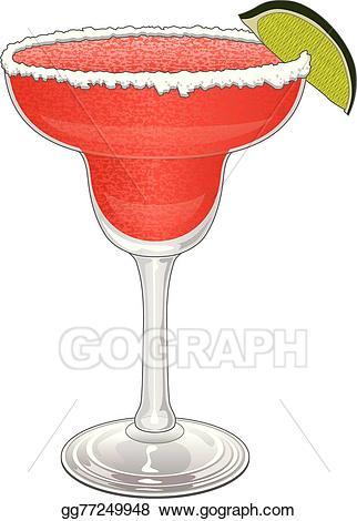Cocktails clipart strawberry margarita. Vector illustration stock clip