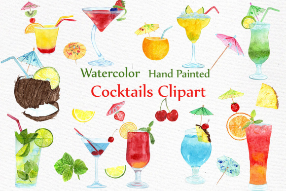 Watercolor cocktails drinks fruits. Cocktail clipart summer