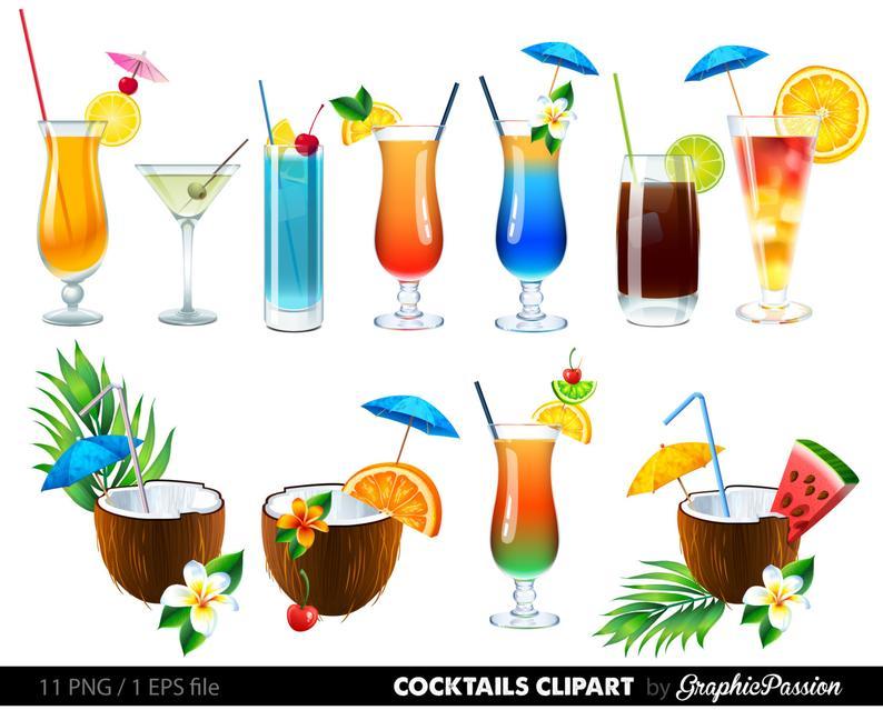 Cocktails clip art drinks. Cocktail clipart summer