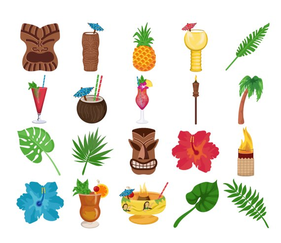Tropical cocktail bar icons. Drink clipart tiki drink